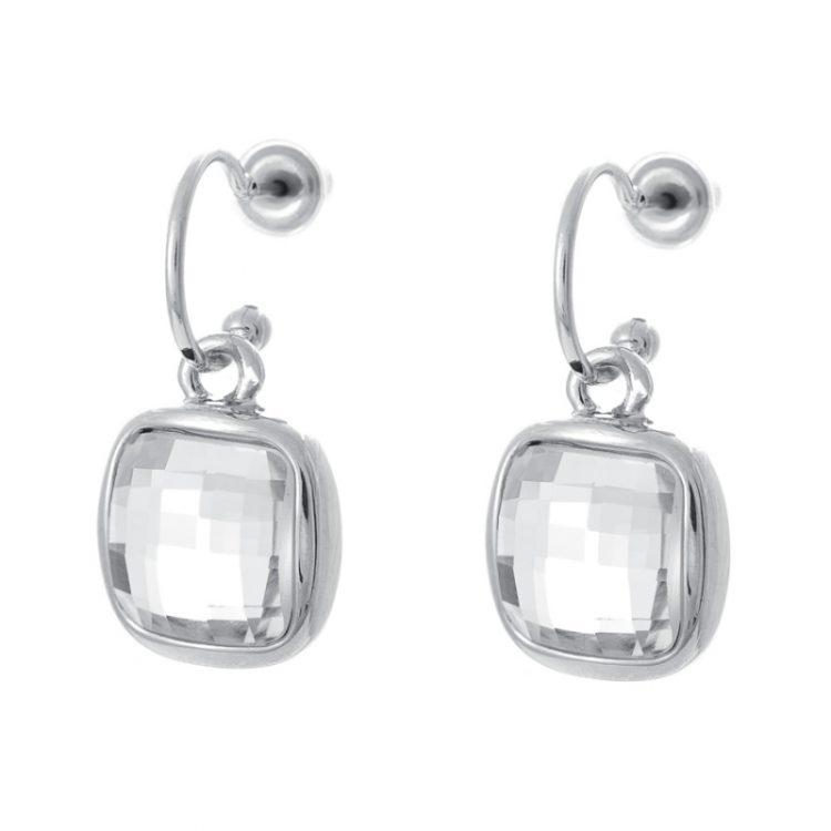 Viva classic oorhanger met vierkante facet geslepen steen- crystal