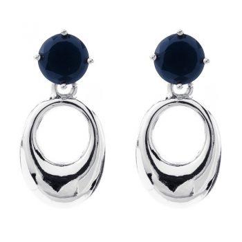 Viva oorbellen blauwe steen met zilverkleurige ovale hanger