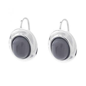 Viva fashion oorbellen ovale-grijze steen