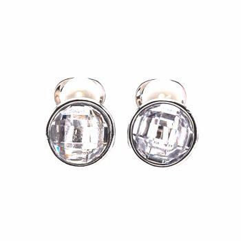 Viva classic oorclips rond met crystal steen
