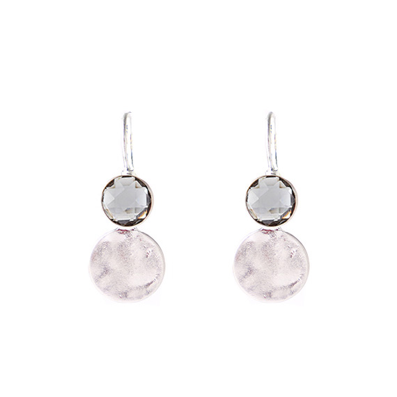 Viva classic oorbellen black diamond steen-zilverkleurig