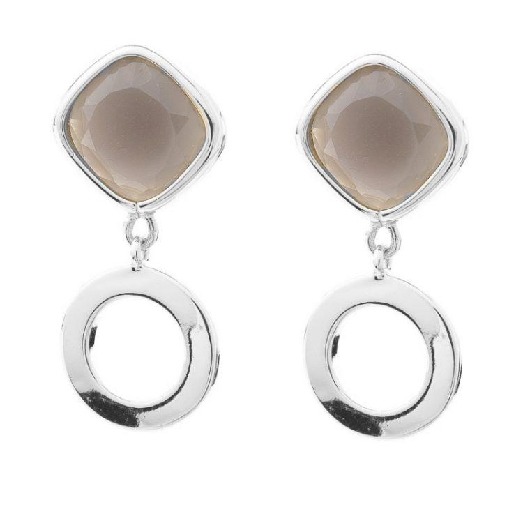 Viva oorhanger bruine steen met zilverkleurige ring