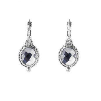 Viva classic zilverkleurige oorbellen met steen crystal