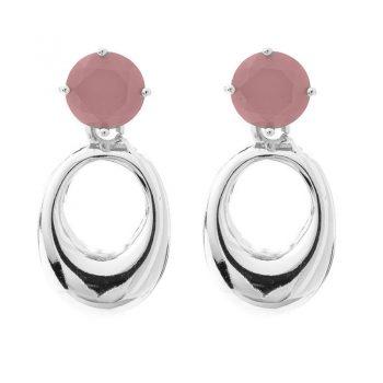 Viva oorbellen roze steen met zilverkleurige ovale hanger
