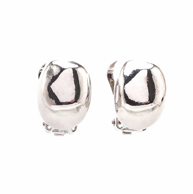 Viva classic oorclips effen zilverkleurig met platte kanten