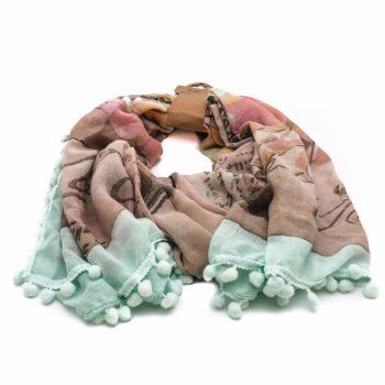 Vrolijk gekleurde sjaal met sierlijke bolletjes