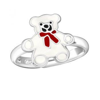 Zilveren verstelbare kinderring witte beer