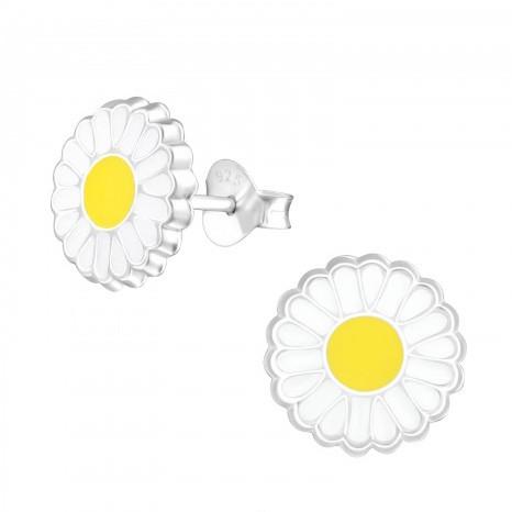 Zilveren kinderoorbellen bloem wit met geel hartje