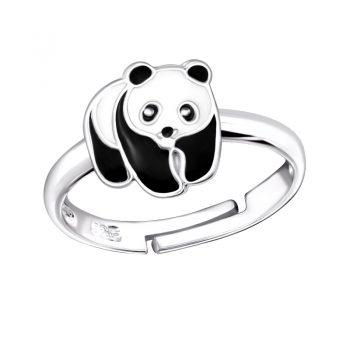 Zilveren verstelbare kinderring panda beer