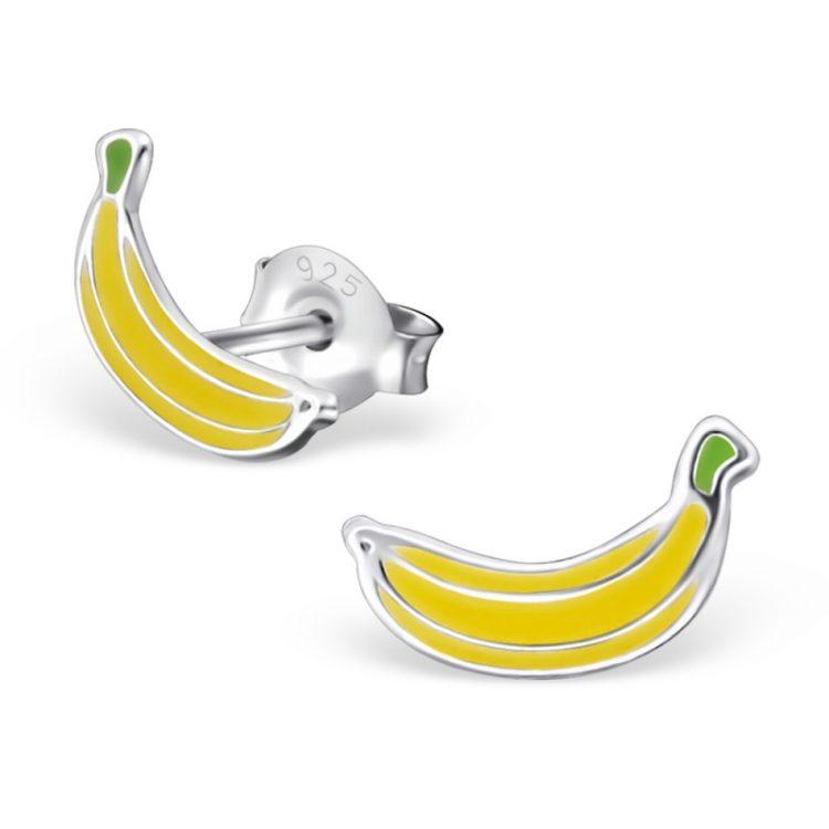 kinderoorbellen bananen tros | echt zilver