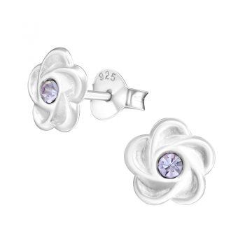 Oorbellen zilveren bloemetje violet steentje