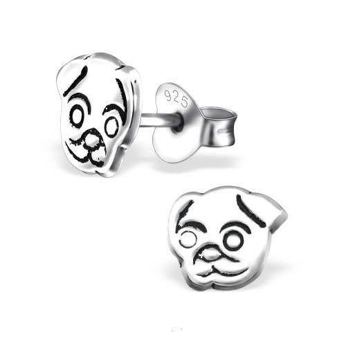 Zilveren kinderoorbellen zilver hondenkop