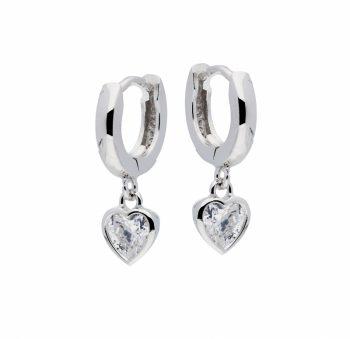 Zilveren creolen met hartje en transparant zirkonia steentje