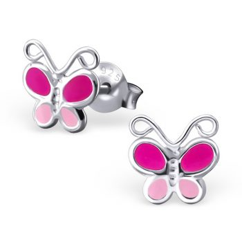 Zilveren kinderoorbellen vlinder zacht en fel roze
