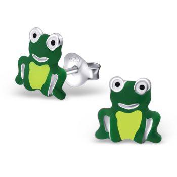 Zilveren kinderoorbellen groene kikker