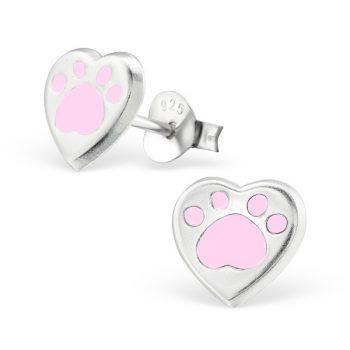 Kinderoorbellen zilver hartje roze dierenpoot