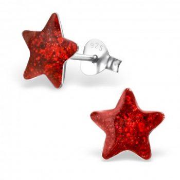 Oorbellen zilver ster rood op zilveren steker