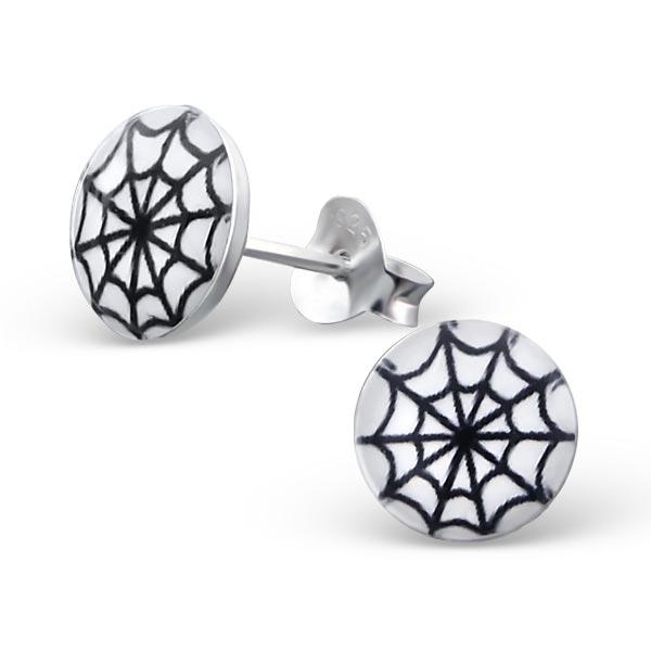Oorbellen zilver spinnenweb wit zwart