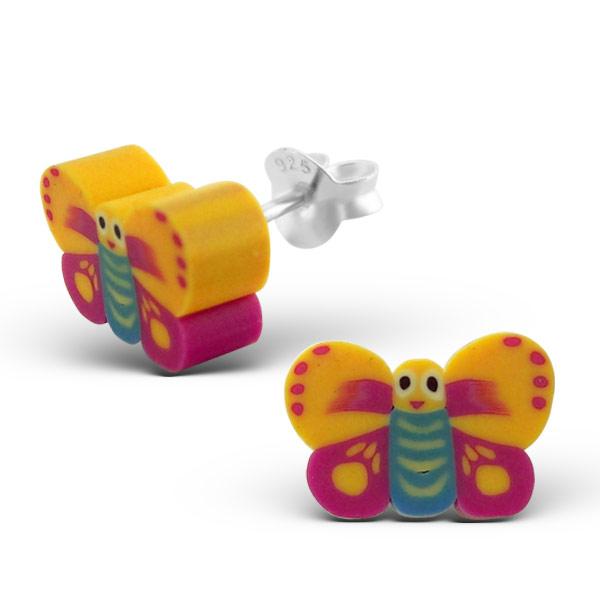 Kinderoorbellen zilver vlinder fimo