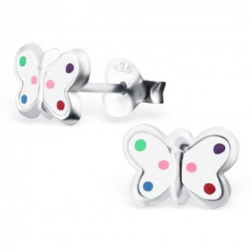 Zilveren kinderoorbellen vlinder wit met gekleurde stippen