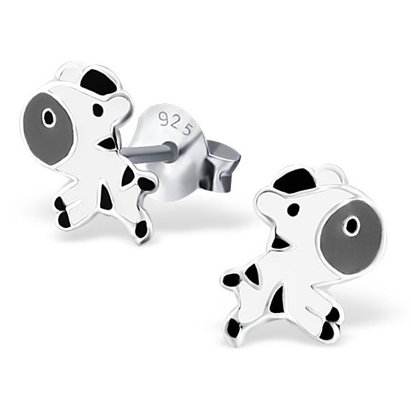 Kinderoorbellen zebra zwart wit |sterling zilver 925