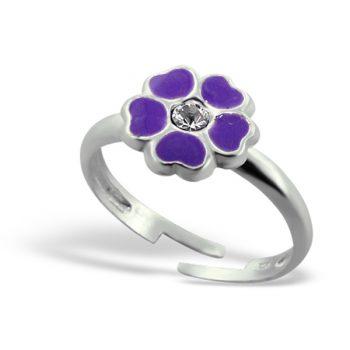 Zilveren verstelbare kinderring paarse bloem met steentje
