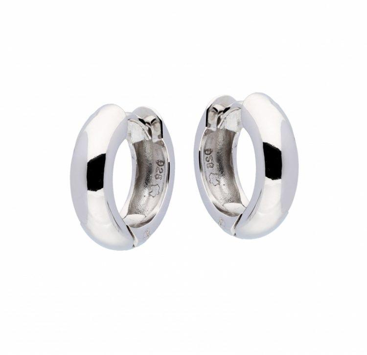 Zilveren creolen rond glanzend 14 mm