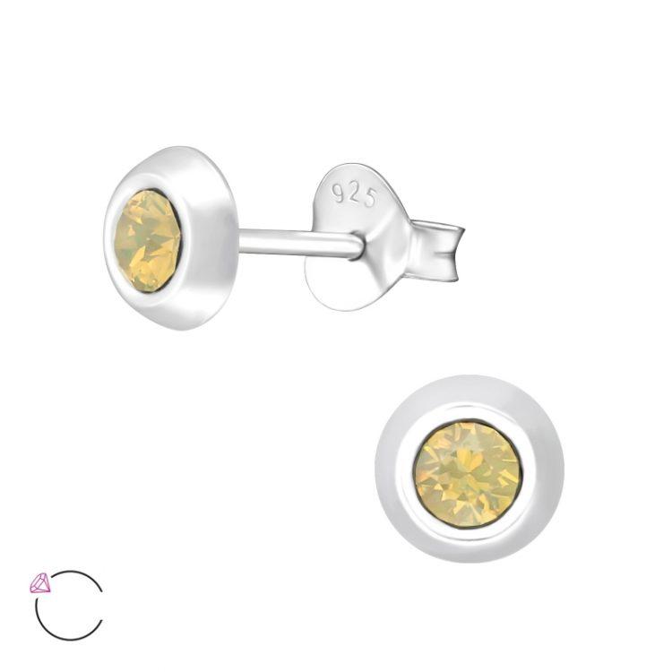 Zilveren oorbellen met Swarovski zand