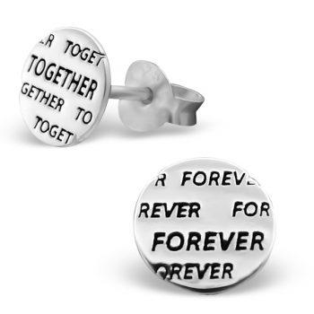 Oorbellen zilveren rond met tekst TOGETHER FOREVER