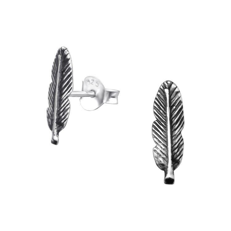 Zilveren oorbellen veer geoxideerd