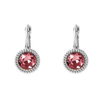 Viva fashion oorbellen rode ronde steen zilverkleurig