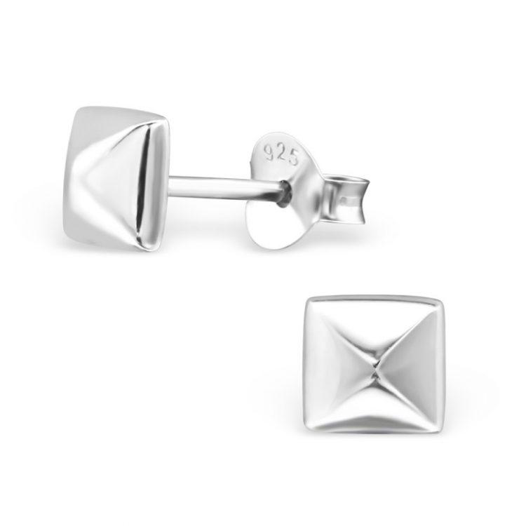 Zilveren oorbellen in gladde vierkant