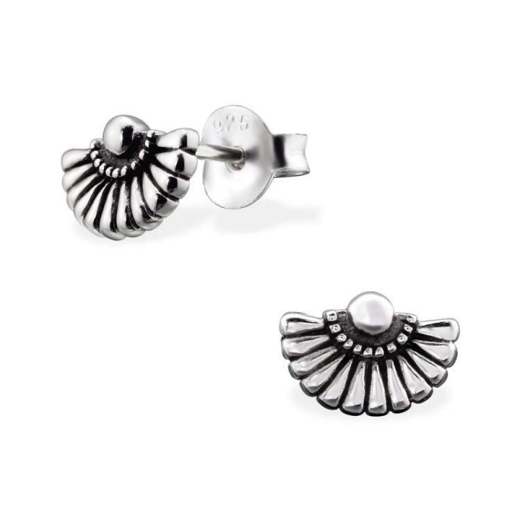 Zilveren oorbellen in waaier vorm geoxideerd