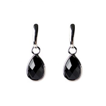 Viva fashion oorbellen zwarte steen zilverkleur