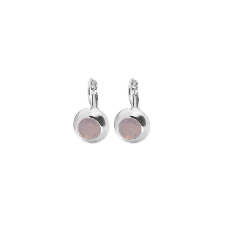 Biba oorbellen steen pink in zilverkleurige bol