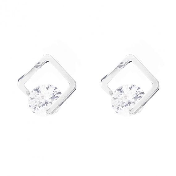 Viva classic oorsteker zilverkleurig met glazen steentje