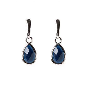 Viva druppel oorbellen met donkerblauwe facet steen