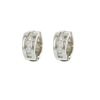Viva classic oorclips vier steentjes-crystal zilverkleurig