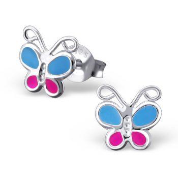 Zilveren kinderoorbellen vlinder blauw-roze