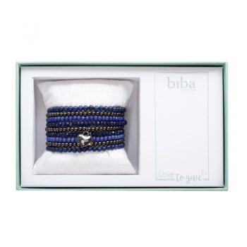 Biba giftbox kralenarmbanden fel blauw-zwart-gun