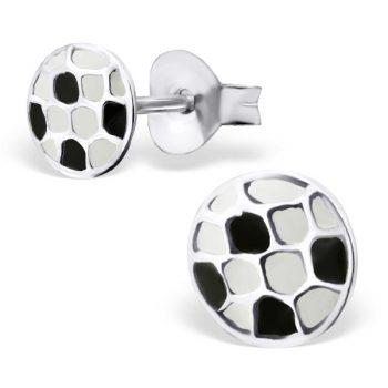 Zilveren kinderoorbellen voetbal zwart wit voor echte fans