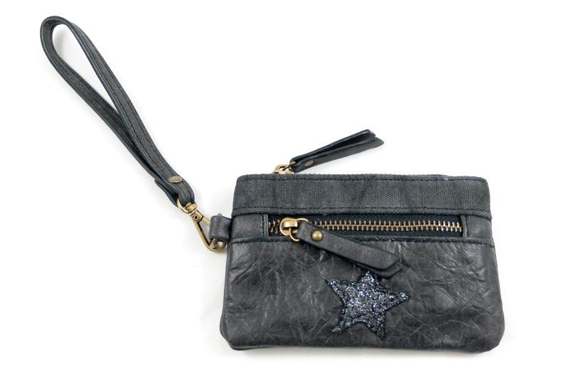 f1aacdaaaca Portemonnee zakformaat zwart met polsbandje en ster - BlingDings