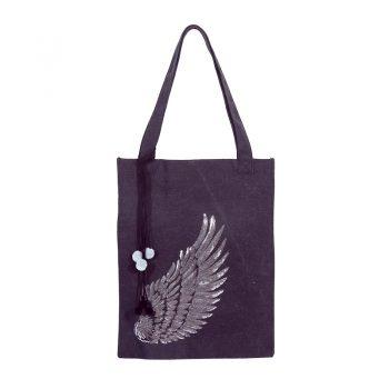Hippe tas met vleugel -zwart | stoer en hip