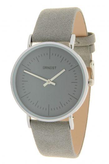 Quartz horloge grijs lederen band