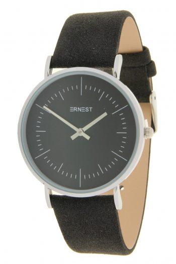 Quartz horloge zwart lederen band - Ernest