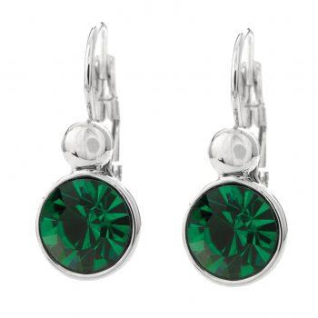 Viva fashion oorbellen zilverkleurige afwerking groene glazen steen