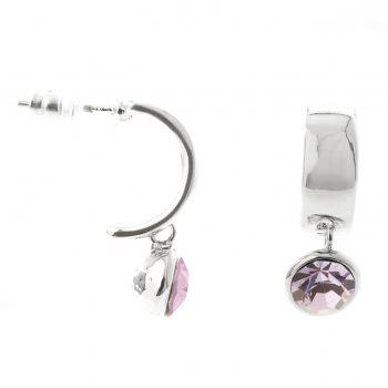 Viva oorbellen steen lila-zilverkleurig