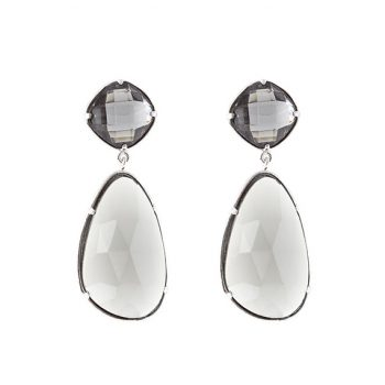 Viva oorbellen smokey grijs kristallen steen