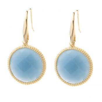 Viva oorhangers rond blauw | goudkleurig