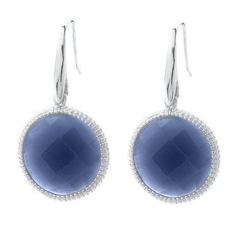 Viva oorhangers rond blauw | zilverkleurig